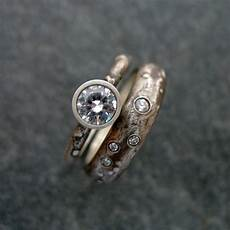 rustic engagement ring with white sapphire or cz sterling etsy