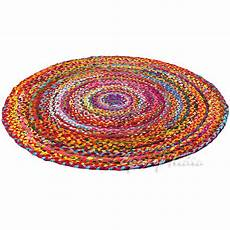 bunter runder teppich 4 ft colorful woven chindi braided area decorative
