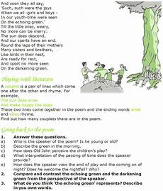 poem worksheets for grade 7 25434 poetry the echoing green reading lessons reading poetry