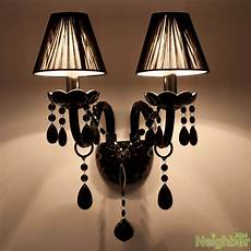 modern black crystal led wall l wall sconce light living room lighting ebay