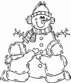 Familly Snowman Winter Coloring Pages  For