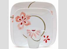 Corelle Squares Pretty Pink 16 Piece Dinnerware Set