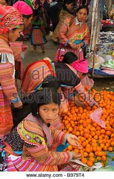 Hilltribe Shopping Bac Ha Market Known For Colourful