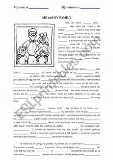 me and my family esl worksheet by ebcesu
