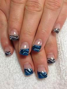 full set gel nails with glitz and nail art design gel