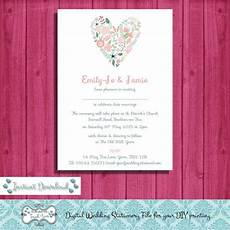 digital diy editable wedding invitation printable microsoft word file jpeg file floral heart