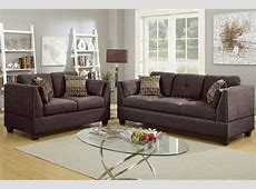 F6917 Sofa & Loveseat Set in Dark Brown Velveteen Fabric