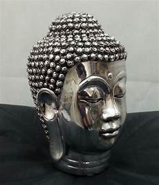 chrome silver buddha sculpture ornament indoor
