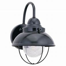 sea gull lighting sebring 1 light black outdoor wall fixture 8870 12 the home depot