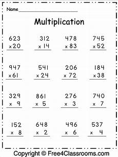 free multiplication worksheet 2 digit and 3 digit by 1 digit free4classrooms