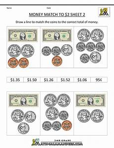 money worksheets easy 2128 money worksheets for 2nd grade math money worksheets money match to 2 dollars 2 school 1