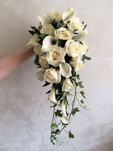 white roses calla shower bouquet created by white florist in 2019 bouquet