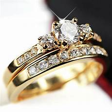 24k gold filled r223 trilogy simulated diamond wedding eternity womens rings ebay