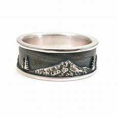 mt hood men s sterling silver ring forest mountain wedding ring just because sterling