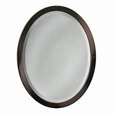rubbed bronze mirror bathroom shop allen roth 29 in h x 23 in w rubbed bronze oval