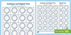 analogue and digital time worksheets clock analogue digital intervals