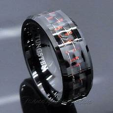 men s tungsten ring with carbon fiber 8mm black and wedding band size 6 14 ebay