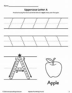 uppercase letter a pre writing practice worksheet fine