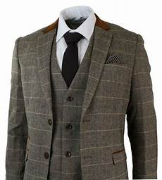 costume marron clair mens check vintage herringbone tweed brown 3