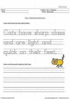 handwriting practice worksheet for ks1 pupils trace over the words and then write the words