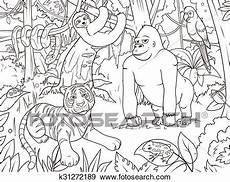 jungle animaux dessin anim 233 livre coloration vecteur
