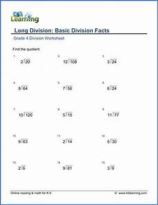 worksheets for division for grade 4 6529 grade 4 math worksheet division basic division facts k5 learning