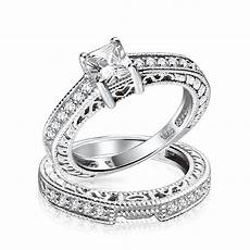 0 75ct 5mm cz sterling silver wedding engagement ring set