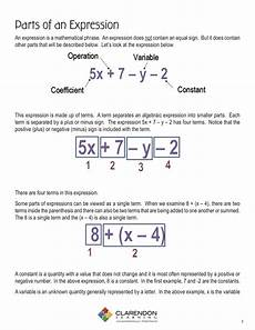parts of algebraic expressions lesson plan clarendon learning