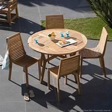 Salon De Jardin 4 Places En Teck Brut 1 Table Ronde