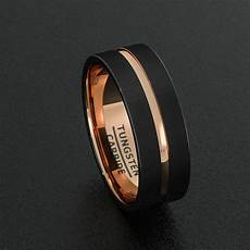 tungsten wedding bands 8mm mens ring black brushed rose