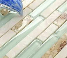 light blue crystal glass strip shell mosaic tiles hmgm1111