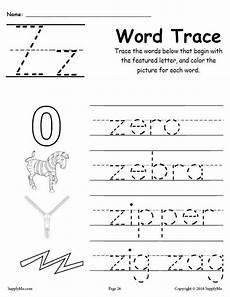 pre k letter z worksheets 24432 letter z words alphabet tracing worksheet supplyme