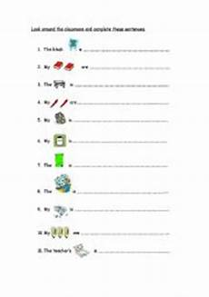 english worksheets prepositions classroom objects