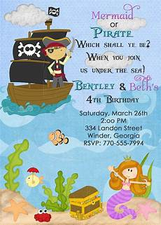 pirate and mermaid birthday invitation digital file