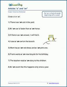 articles a an worksheets k5 learning