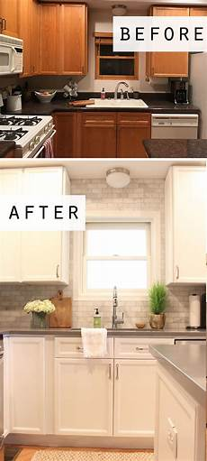 white ceiling fan subway kitchen backsplash ideas cottage style before and after kitchen makeover featuring