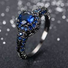 aliexpress com buy fashion blue sapphire female ring wedding band black gold filled jewelry