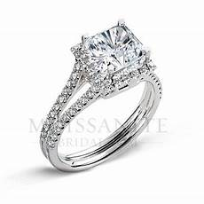 split prong square brilliant moissanite diamond engagement ring