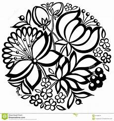 black and white floral arrangement in the shape of a circle stock vector illustration of