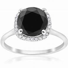 3 1 10ct treated black diamond cushion halo engagement ring 14k white gold ebay