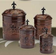 canisters kitchen decor antique copper fleur de lis kitchen canister set new for
