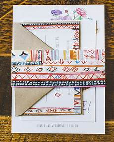 eclectic painted floral wedding invitations