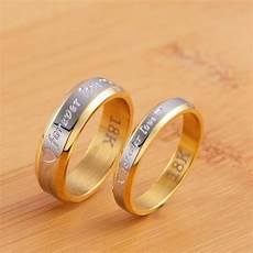 stainless steel couple quot forever love quot ring gold wedding band s day ebay