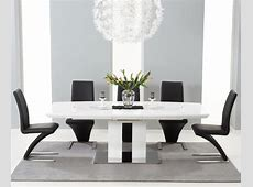 Ezra White High Gloss Twin Column 7 Piece Extending Dining