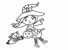 Malvorlagen Hexe Kleine Hexe Auf Besen Malvorlage