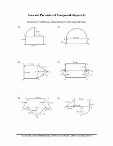 shapes areas worksheets 1036 area and perimeter of compound shapes a measurement worksheet