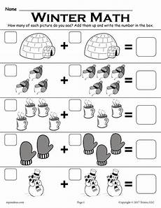 winter activities worksheets for preschoolers 19952 winter themed quot addition with pictures quot math worksheet