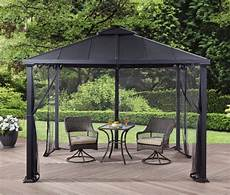 metal roof gazebo with netting top pergola canopy 10 x10 backyard shelter ebay