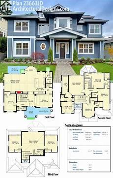 3 story floor plans plan 23663jd 6 bedroom with third floor room