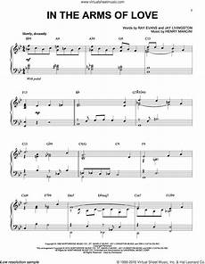 mancini in the arms of love sheet music for piano solo